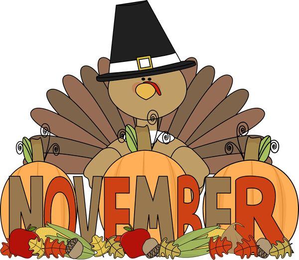 Month of November turkey. | thanksgiving clipart | Pinterest
