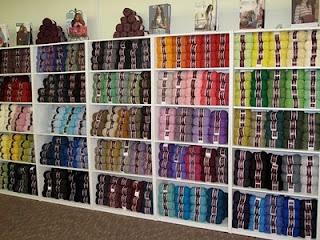 ... in rainbow colors at the Sugar Bunny Blvd yarn shop in El Dorado, KS