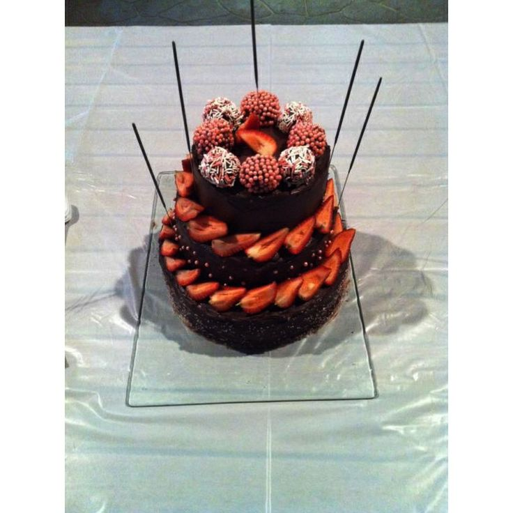 Triple layered Devil's Food Cake with Chocolate Ganache and assorted ...