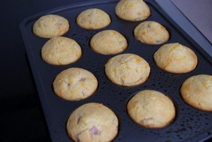 Baked ham & cheese cornbread muffins. Great for lunch, breakfast or ...