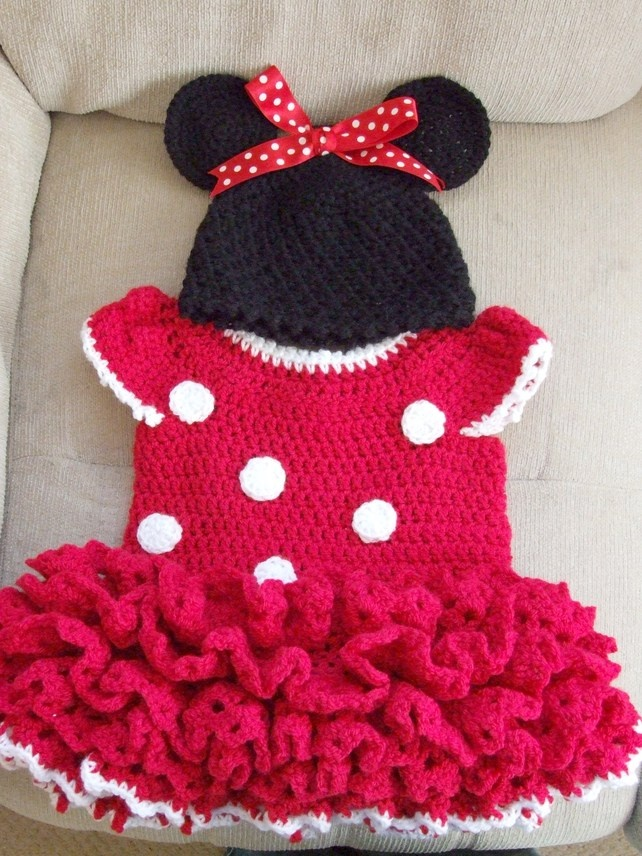 Minnie Mouse Crochet Baby Hat Pattern : Red Minnie Mouse style dress and hat. MADE TO ORDER