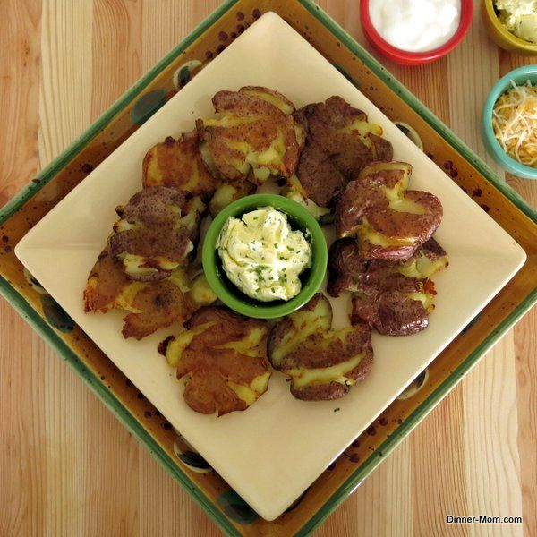 Roasted Smashed Potatoes with Garlic Chive Butter - For a party serve ...
