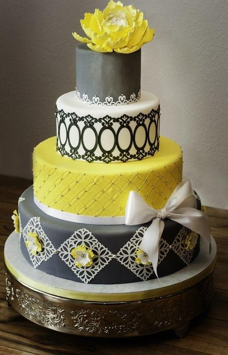 grey and yellow wedding cake wedding pinterest