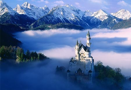 Neuschwanstein Castle, Germany.  When dad was stationed in Germany, we went to a LOT of castles so it got kinda humdrum until I saw this one!  It is reportedly the inspiration for Disneyland's Sleeping Beauty Castle
