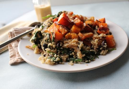 Warm quinoa salad with butternut squash, spinach, and chipotle ...
