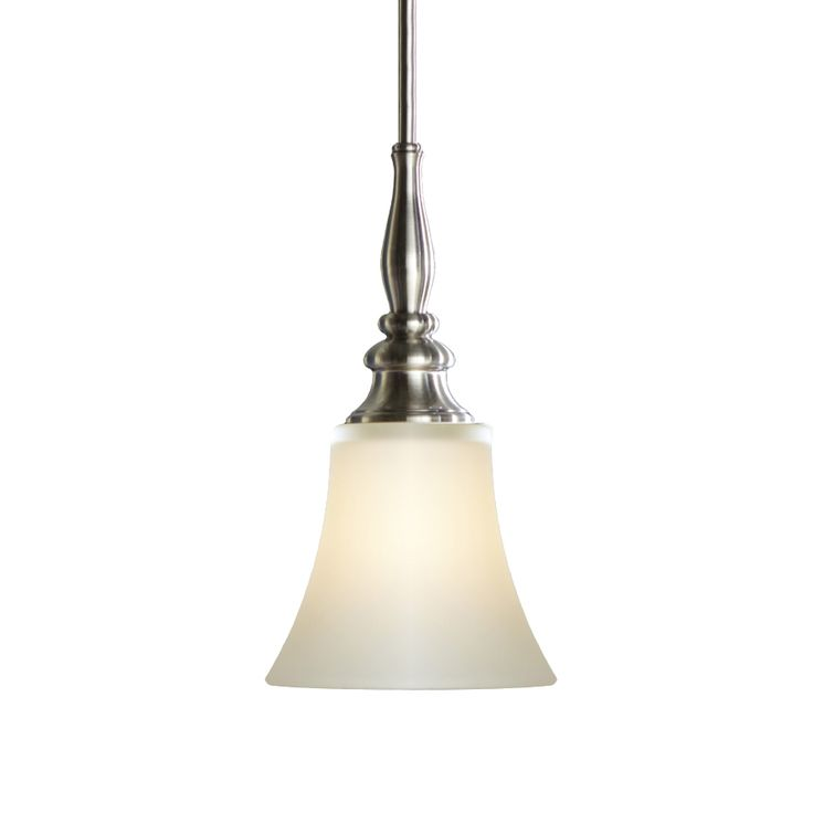 allen roth 6 1 2 in w brushed nickel mini pendant light with frosted. Black Bedroom Furniture Sets. Home Design Ideas