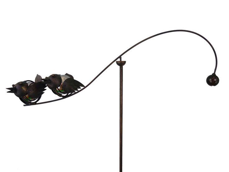 Spinning Balancing Baby Love Birds Metal Garden Wind Spinner Ornament