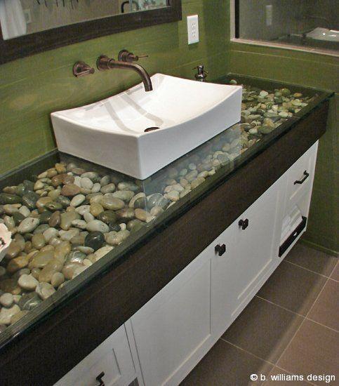 River Rock Under Glass Countertop Dream House Ideas
