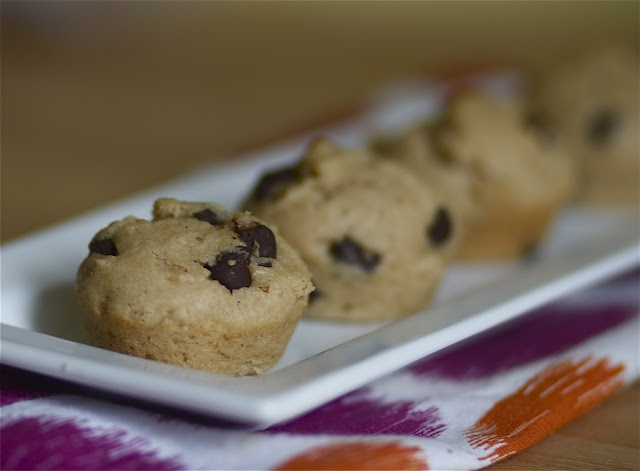 peanut butter chocolate chip mini-muffins http://www.the-baker-chick ...