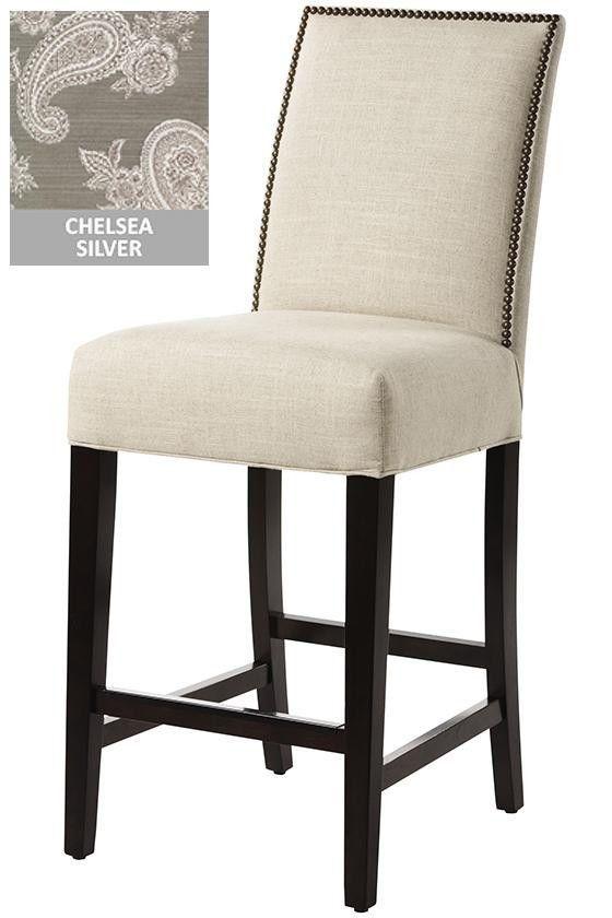Custom Upholstered Straight-Back Kitchen Bar Counter Stool Barstools ...