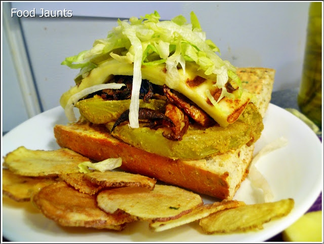 "Fried"" Green Tomato Po Boy - Oven Fried Green Tomatoes, Shiitake ..."