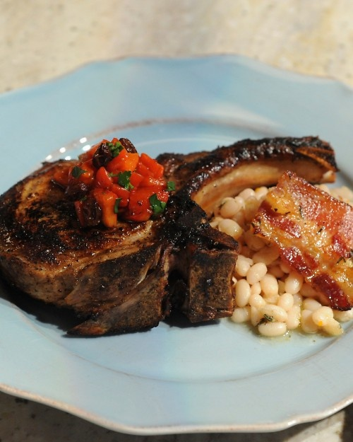 Pan-Roasted Pork Chops with Baked Beans and Agrodolce | Recipe