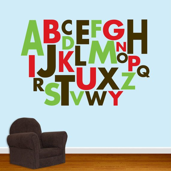 Alphabet wall decal vinyl alphabet for Alphabet wall mural