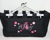 Personalized Market Tote Basket with Polka Dots Name & Initial