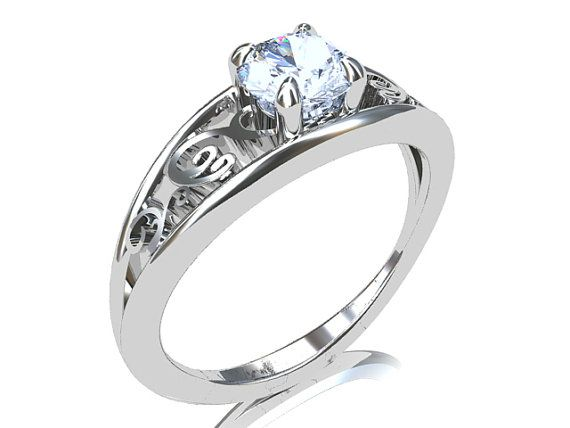 Aquamarine engagement ring, white gold, filigree ring ...
