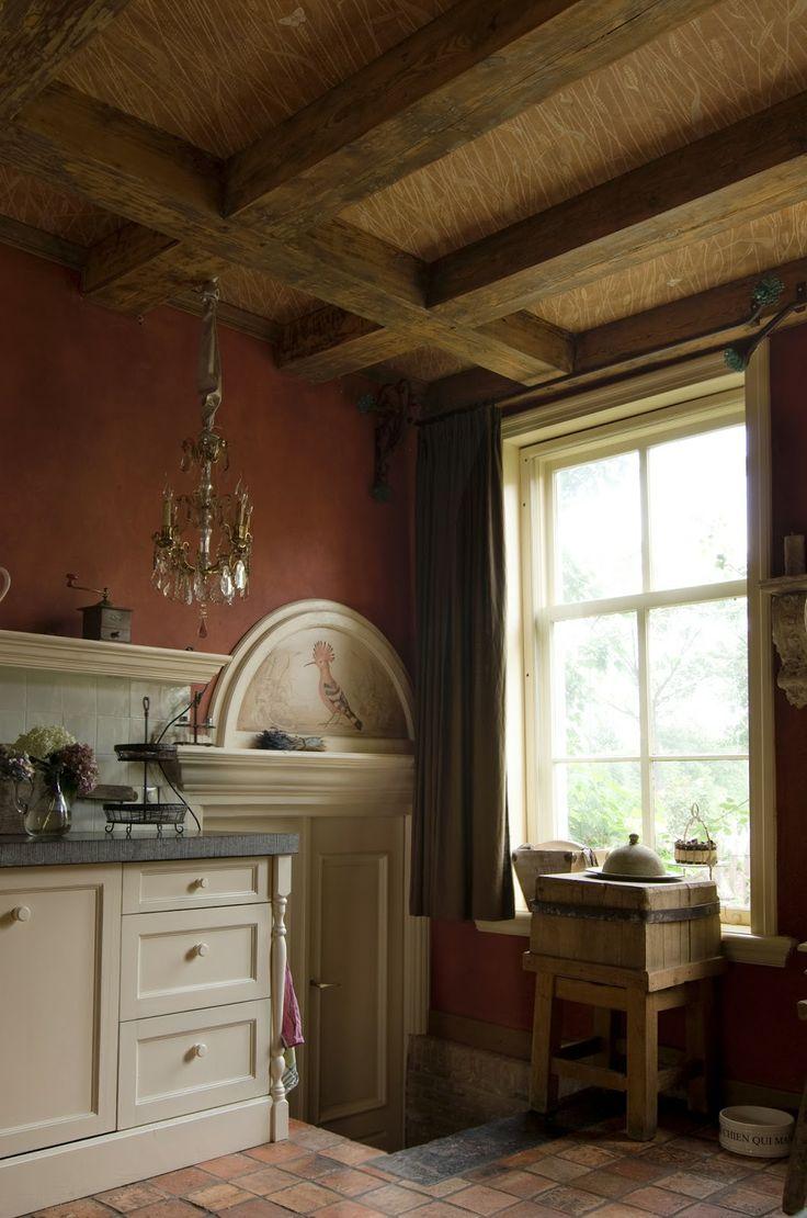 Wheat Design painted On Ceiling Between Beams Peter Korver | Amsterdam - Fine Art Interiorworks : Graan | Wheat