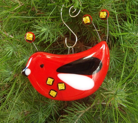 Christmas Decorations Red Birds : Red bird fused glass christmas ornament holiday