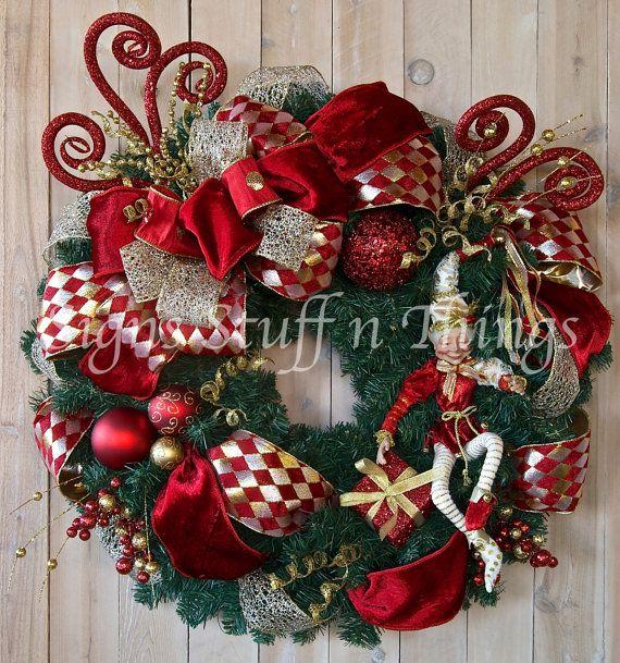 Chrismas Wreath Designer Holiday wreath Christmas Elf Whimsical
