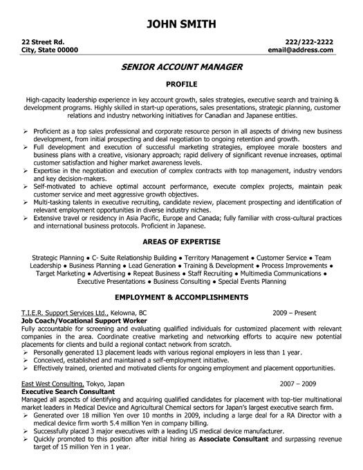 Resume Sample For Key Account Manager