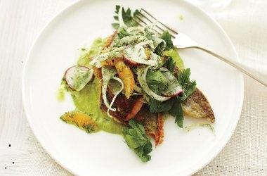 Sauteed Georgia Trout with Watercress Puree and Mandarin Salad