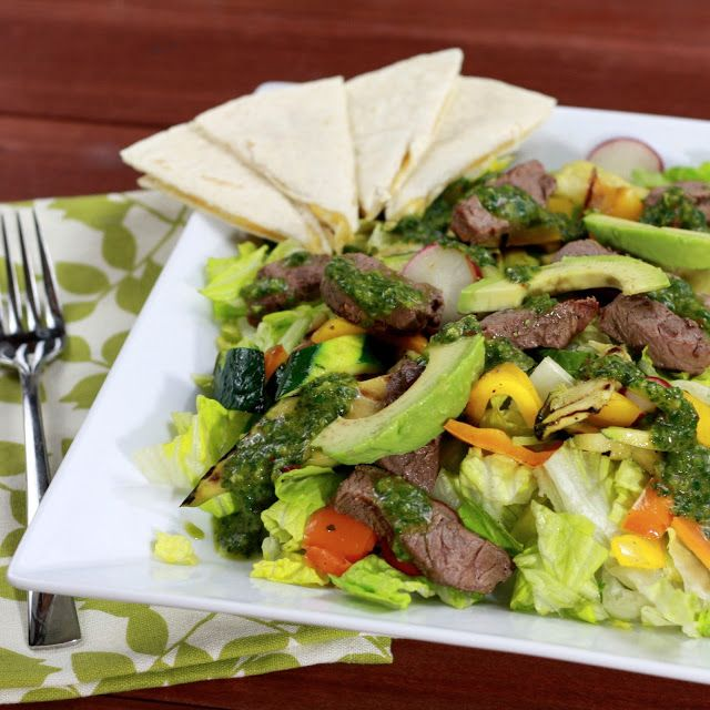Grilled Steak & Vegetable Salad with Chipotle Chimichurri Dressing ...