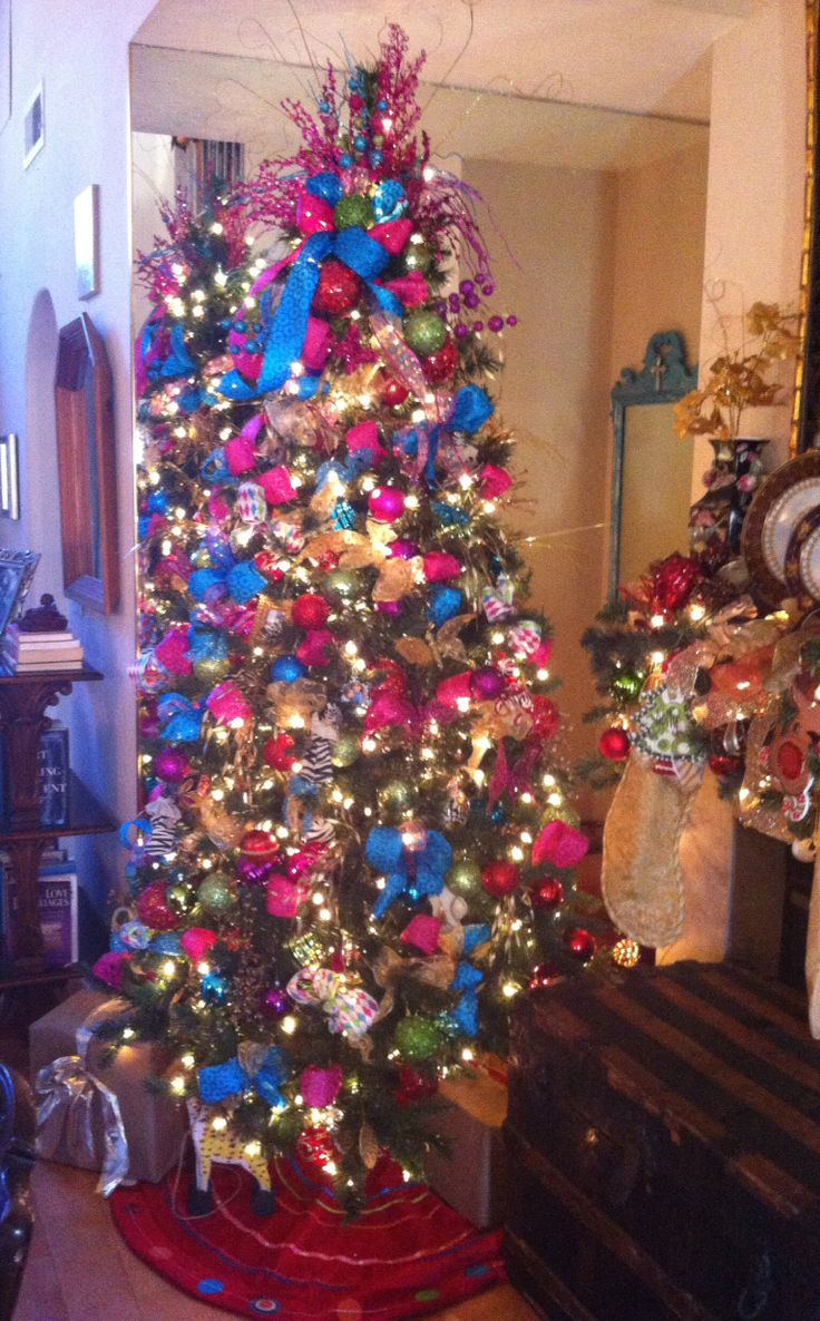 Pink and blue christmas tree decor pinterest