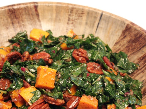 Balsamic kale salad with roasted butternut squash and pecans # ...