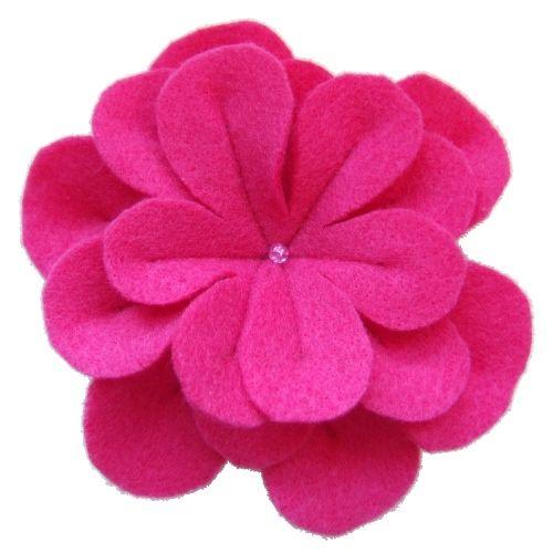 Hot Pink Felt Flower Pin
