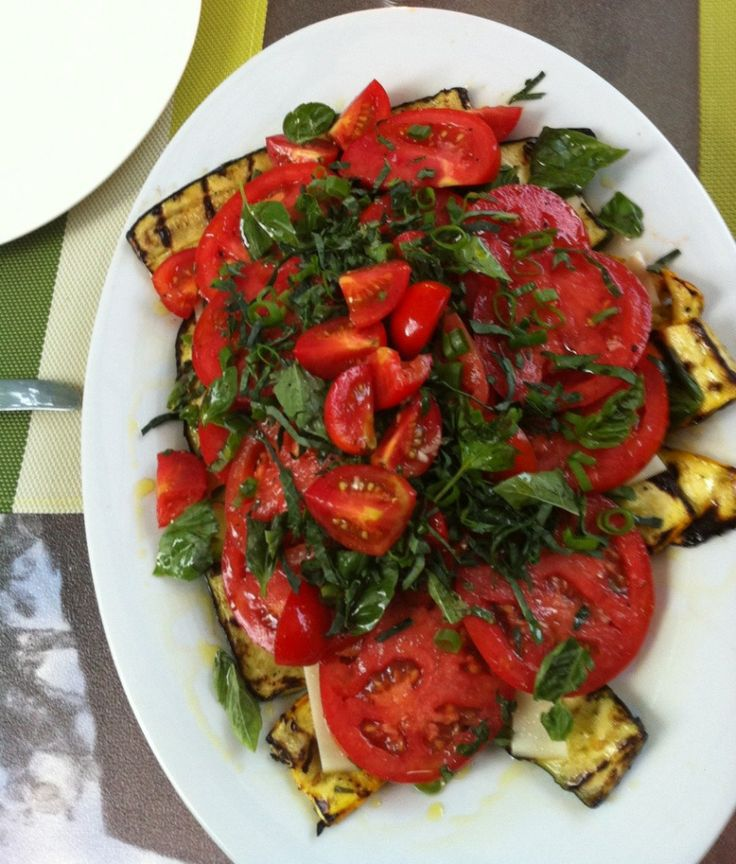 Grilled Zucchini And Grape Tomato Salad Recipe — Dishmaps