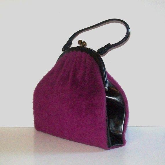1960s purse  vintage 60s handbag  large  Fuzzed Up Purple Purse