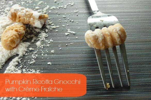 Pumpkin Ricotta Gnocchi with Creme Fraiche #recipe