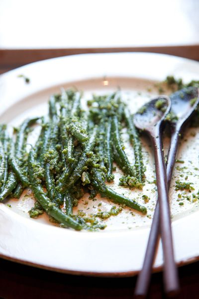 : Green Beans with Almond Pesto. with left overs for breakfast: Under ...