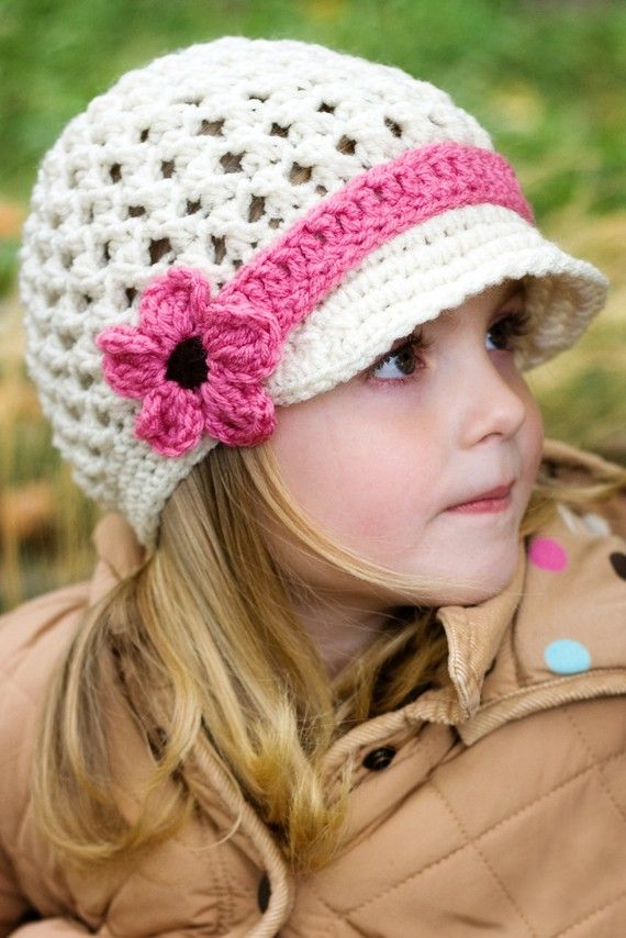 Crochet Pattern Hat Girl : Girls Crochet Hat - Visor Beanie with Mary Jane Strap ...