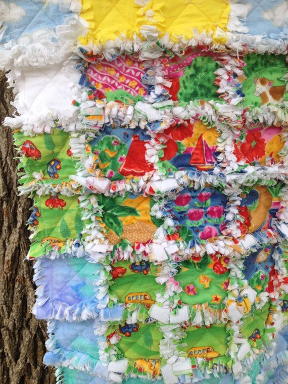 Flannel baby rag quilt my town ready to ship free by fabriccrazy 35