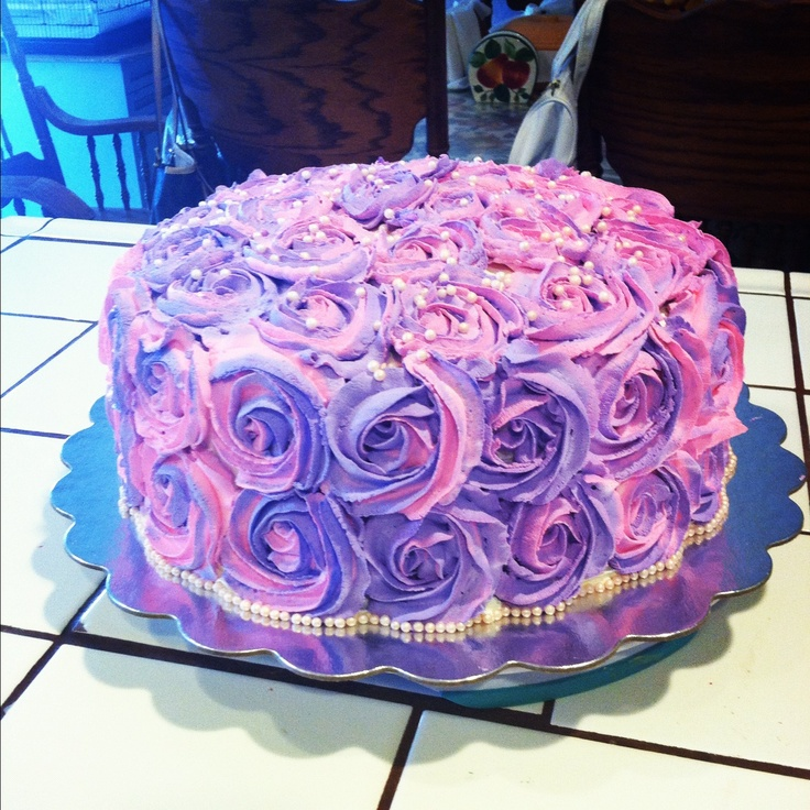 Pink Rosette Cake Images : Pink and purple Rosette cake Cakes Pinterest