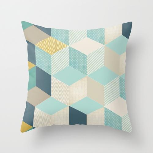 blue geometric Throw Pillow by Filipa L