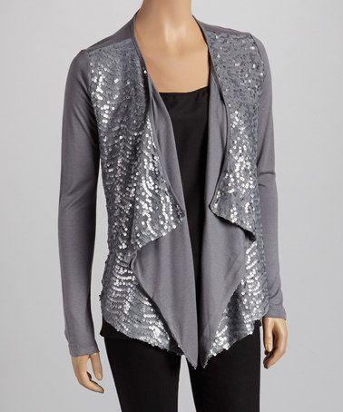 Sequin Cardigan Ladies - Gray Cardigan Sweater
