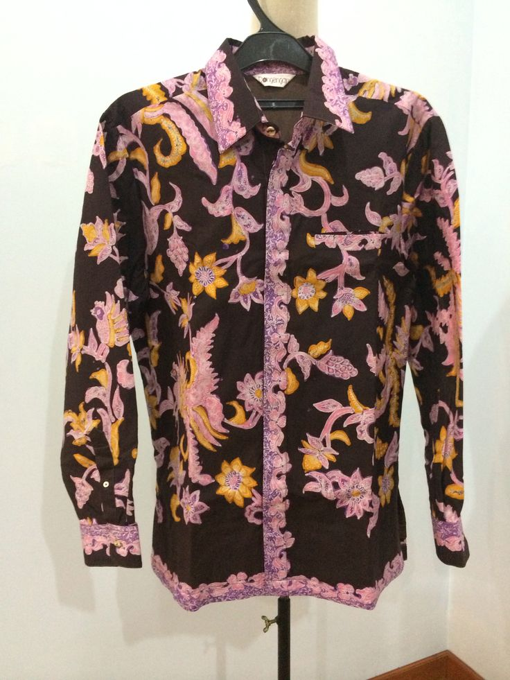 Men's shirt made from batik tulis Lasem. Shirt is made by Dongengan ...