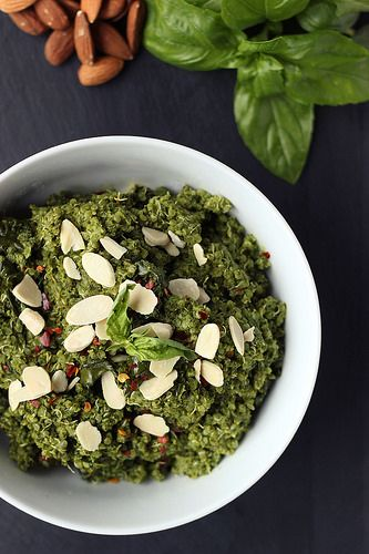 Sprouted Quinoa Bowl with Kale Almond Pesto {Gluten-free and Vegan} by ...