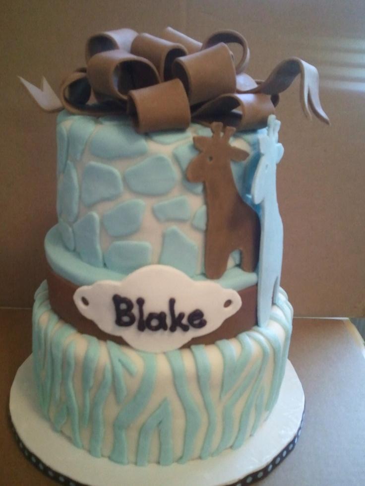 blue white giraffe baby shower cake cake walk pinterest