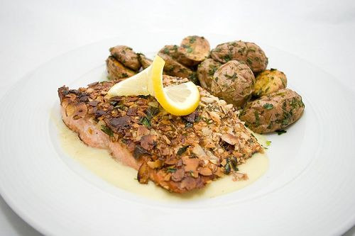 Almond-Crusted Copper River Salmon with Leek and Lemon Cream and Roas ...