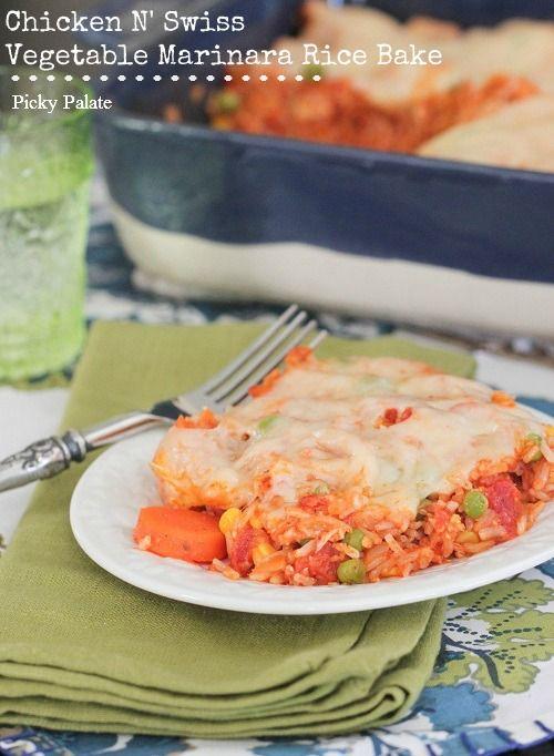 Swiss N' Chicken Vegetable Marinara Rice Bake | Recipe
