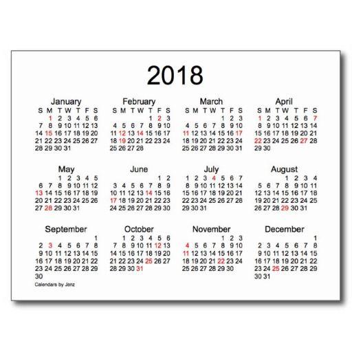 2018 Mini Calendar with Holidays Post Cards