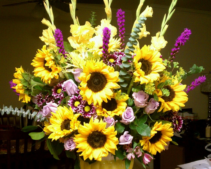 Sunflower arrangement flowers pinterest