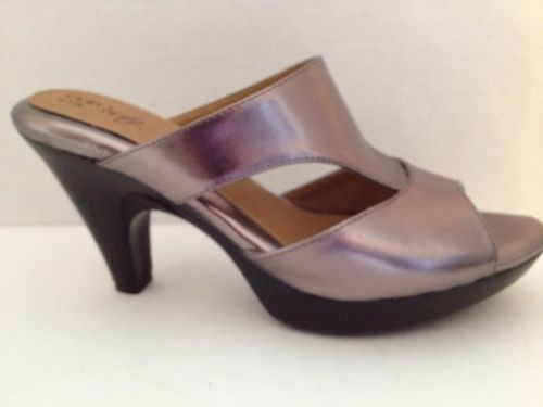 Eurosoft Shoes Sofft Heels Womens Size 8 M Metallic Open Toe 8M