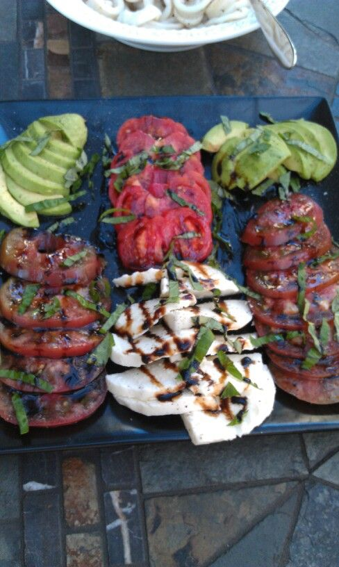 Caprese Salad with Heirloom Tomatoes and Avocado