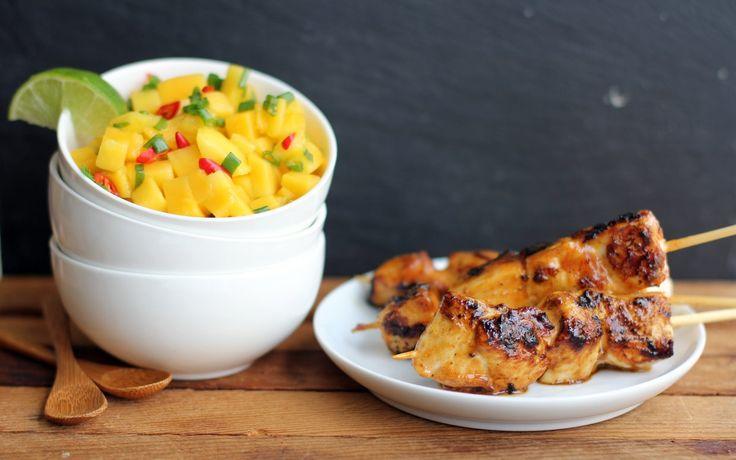Cilantro Chicken Skewers With Mango Salsa Recipes — Dishmaps