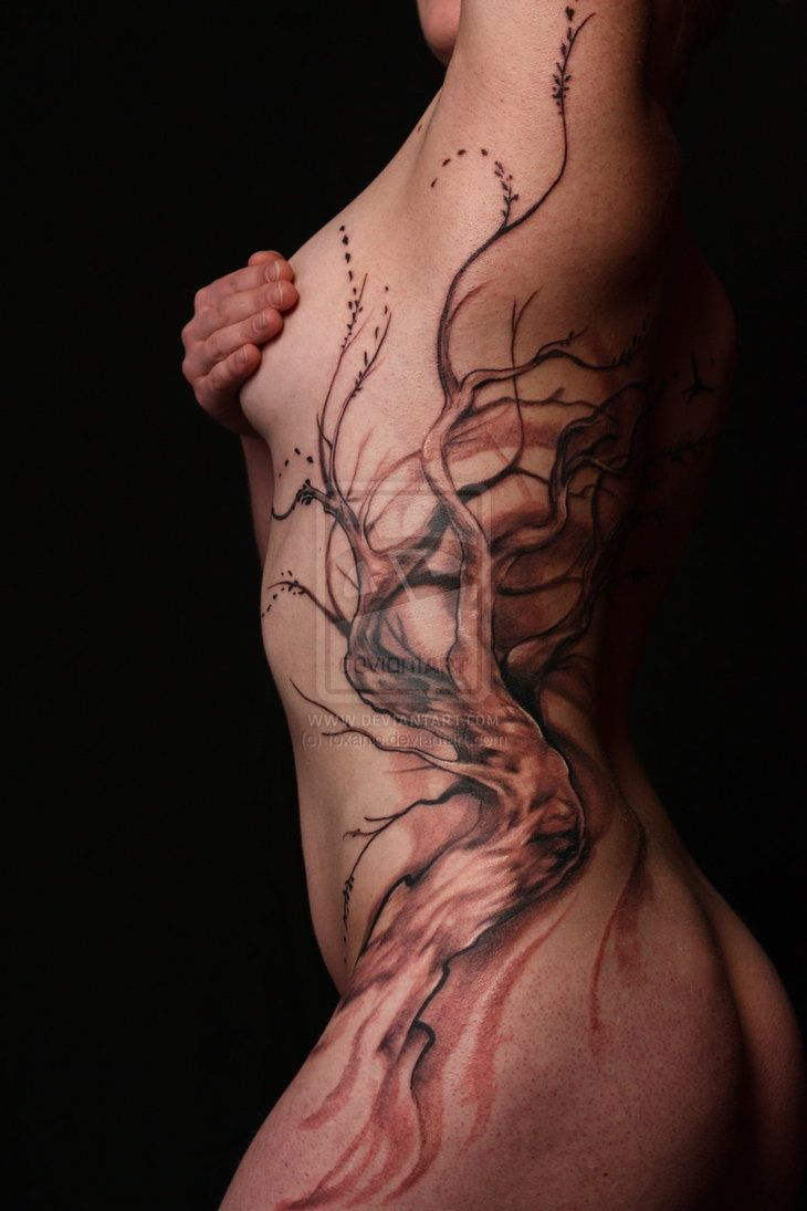 tree full body side piece tattoos pinterest