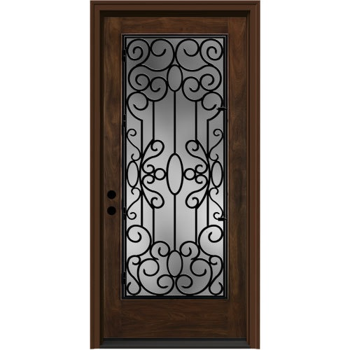 Zoomed jeld wen 36 wrought iron clear caramel entry door