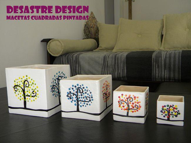 Macetas cuadradas pintadas casas cosas deco design for Cosas de casa deco